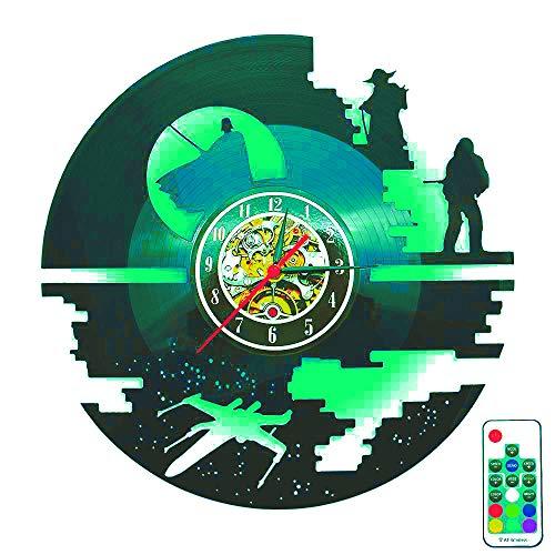 Star Wars LED Nachtlicht Creative Vinyl Records Wanduhr einzigartige Weihnachten Halloween Boy Zimmer Geschenk - modernes Design handgefertigte hängende Zeit Kunst Dekor 7 Farben ändern (30 Cm Runde)