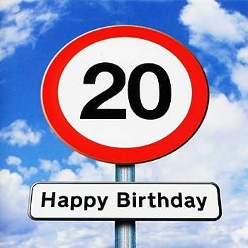 Twizler 20th Birthday Card Roadsign 20 Year Old Age 20