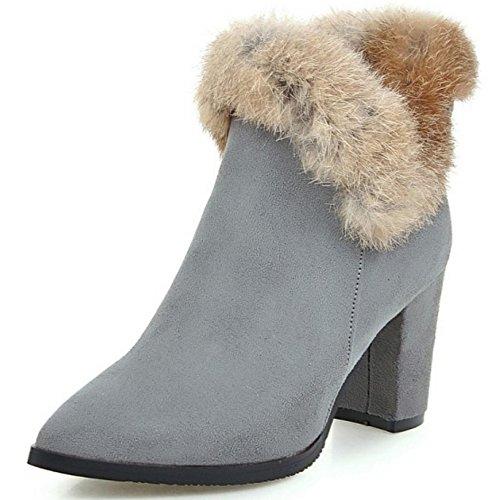 COOLCEPT Damen Mode-Event Wildleder Blockabsatz schuhe elegant spitz Zehe Knöchel Stiefel mit Fell Grau
