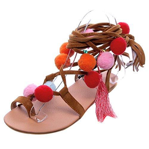 UH Damen Flache Sandalen mit Schnürung und Pompons Süß Römersandalen Bequem Sommer Schuhe