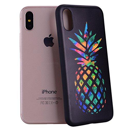 Yunbaozi iPhone X Hülle Embossing Protective Case Weiche Flexible Glatte Haut Schlank Leichte Schale Kreatives Gestalten Schwarzes Relief Hülle für iPhone X - Regenbogen Ananas -