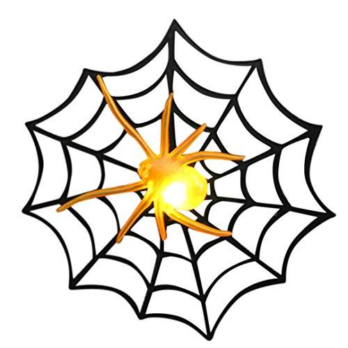 LANDFOX Halloween Dekoration Requisiten Bar Anordnung Leuchtende Sprung Licht Kunststoff Spinnennetz Halloween Dekoration Requisiten Bar Anordnung Blinklichter Spinne