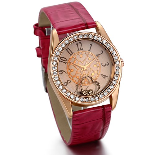 JewelryWe Damen Mädchen Armbanduhr, Fashion Casual Analog Quarz Uhr mit Leder Armband & Strass Rund Digital Zifferblatt, Rot