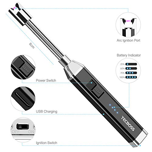 51wnxKvpJnL. SS500  - Tecboss Candle Lighter, Electric Arc Lighter for Kitchen, BBQ, Fireworks, Gas Stove, Flameless Windproof Long Lighter With USB Rechargeable Interface, 360 Degree Rotated Tube