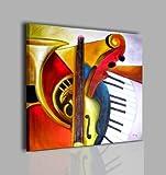 I Colori del Caribe QUADRI MODERNI OLIO SU TELA DIPINTI A MANO STRUMENTI MUSICALI TROMBA VIOLINO TASTIERA ALTA QUALITA' MADE IN ITALY - MUSICA