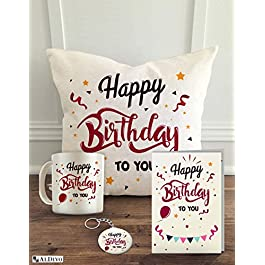 ALDIVO Happy Birthday to You (12″ x 12″ Cushion Cover with Filler + Printed Coffee Mug + Greeting Card + Printed Key Ring) (Combo)