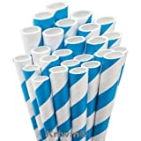 #3: KRIWIN Pack Of 100 Blue & White Stripes Paper Straws 7 3/4 inch & 8 mm wide - Ideal for drinking cocktails, mock-tails, juices, milkshakes and Craft work