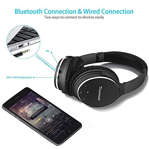 Cuffie bluetooth con active noise cancelling Tzomsze Wireless Over  Auricolari Stereo Bluetooth Headphones Headset - Nero 3c714a142543