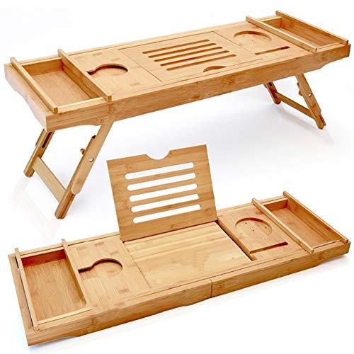 CHSHY Bambus Badewanne Tablett, Bett Laptop Schreibtisch mit klappbaren Beinen, Top Qualität Bambus Badewanne Caddy Tablett mit einstellbaren Beinen und Weinglashalter -
