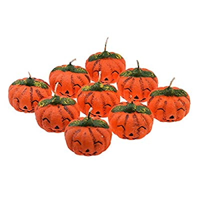 Pack of 9 Spooky Pumpkin Halloween Candles in a Mini Wooden Crate - XZ740 from GTR-Prestige Giftware