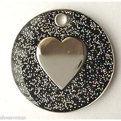Personnalisé pour chien chat Pailleté noir en forme de cœur et médaille d'identification gravée
