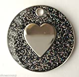 Personalised DOG CAT LOVE HEART Black Glitter Identity ID Pet Tag Engraved