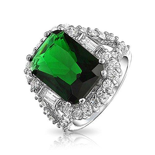 Bling Jewelry 7CT CZ Vert émeraude Cut Pave simulé Bague en Laiton plaqué Argent