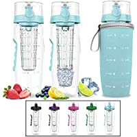 Bevgo Fruit Infuser Water Bottle - Large 1 Litre - Save Your Money and Hydrate the Healthy Way - Multiple Colors with Gift Included