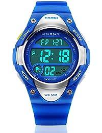 Los niños deporte digital reloj, niños al aire libre impermeable electrónico relojes con LED alarma Cronómetro–Azul