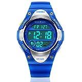 Reloj digital infantil deportivo, impermeable, con alarma, cronómetro, luz LED, azul