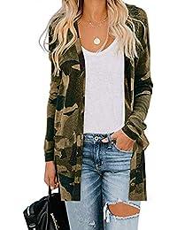 Reooly Cárdigan de Manga Larga con Estampado de Leopardo de Punto Camiseta con Bolsillo de Mujer de Moda Chaqueta de suéter Superior
