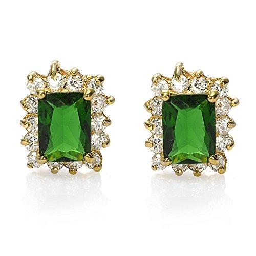 Joyería de la manera Señora princesa Cut verde esmeralda oro amarillo plateado Stud Pendientes