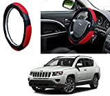 #10: Autopearl Adinox Ring Type Car Steering Wheel Cover (Ultimate Black Red) For -Jeep Compass
