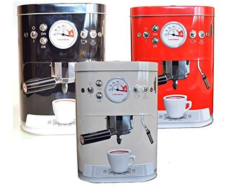 orratsdosen Kaffeedose geprägte Blechdose im Espressomaschinen Design Vintage (Schwarz)