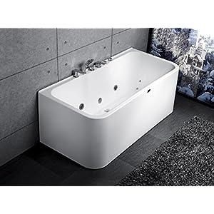 Exclusive Whirlpool Badewanne an 3 Seiten geschlossen Acryl mit Armatur und Massage 160cm 170cm (Massage 160)
