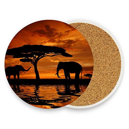 Posavasos de FANTAZIO con diseño de elefantes y baobabs africanos en el...