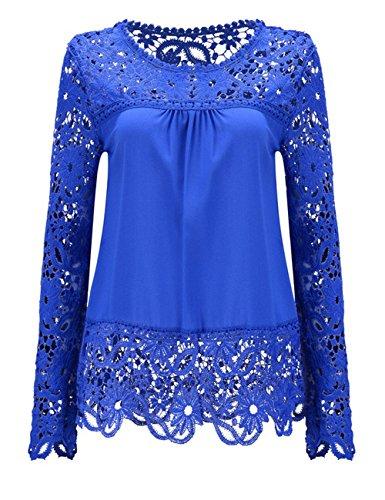 Shinekoo® Damen Langarm Plus Größen Spitze Chiffon Tops Sommer Shirt Bluse (Shirt Chiffon Top)