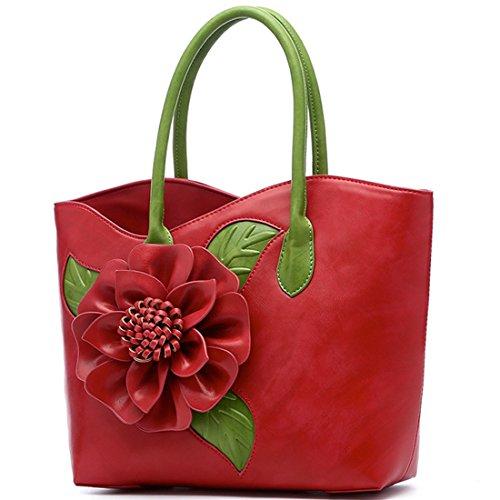 Damen Blume PU Leder Handtaschen Damen Henkeltaschen Elegante Umhängetasche Schultertasche (Grün) Kaxidy 5sAIlicDSJ
