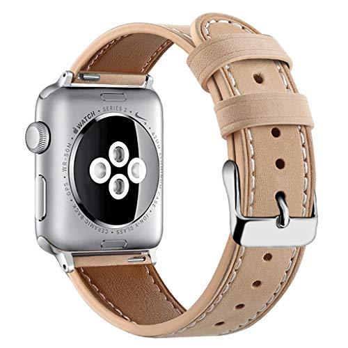 SYY Nylon Quick Release Ersatz Uhrenarmband für Damen und Herren, Uhrenband für Uhr und Smartwatch   Für Apple Watch Collection 1/2/3/4 42 / 44mm (Khaki) (Apple Watch Sport Collection)