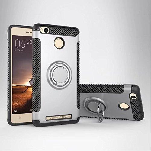 Happy-L Coque pour Xiaomi Redmi 3S / 3 Prime, étui de Protection Robuste 2 en 1 Armor avec Porte-Bague Rotatif à 360 degrés et étui de Fixation magnétique pour Voiture (Couleur : Argent)
