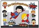 Superhelden Einladungskarten Enladung für Jungen und Mädchen 12 Stück Einladungen Jungs Buben