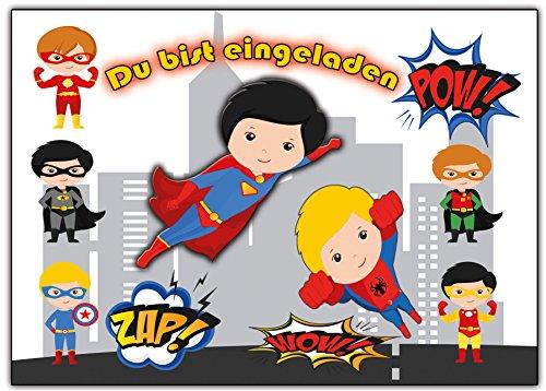 Superhelden Einladungskarten Enladung für Jungen und Mädchen 12 Stück Einladungen Jungs (Superhelden Party)