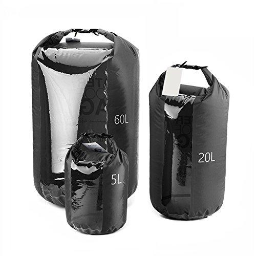 ZHOUBA Sacchetto di immagazzinaggio impermeabile della spiaggia 60L / 20L / 5L Cool Black