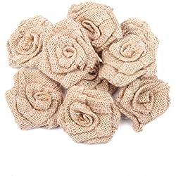 OULII Arpillera flores rosas de arpillera yute arpillera flor rústica Vintage rosa para Navidad boda adornos Ramos BRICOLAJE decoración, paquete de 6 (yute Color)