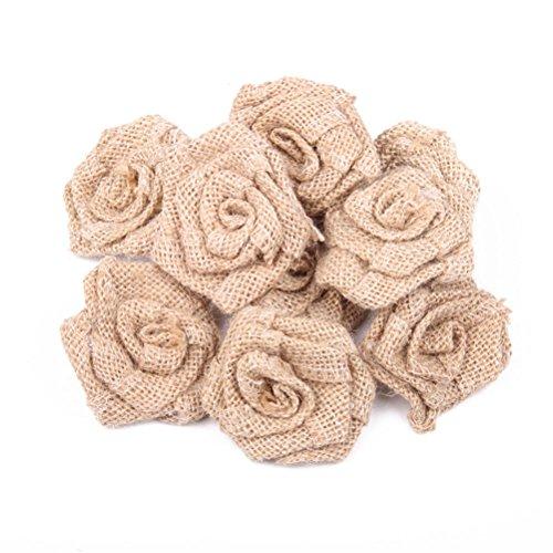OULII Arpillera flores rosas de arpillera yute arpillera flor rústica