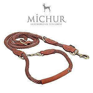"""MICHUR Hundeleine """"Sherpa Brown Sugar""""   Gesamtlänge 200cm, Breite 1,4cm   Unermüdlich fleißig und tapfer sind die Sherpa die wahren Helden des Himalayas. Ihnen zur Ehre haben wir diese Halsbänder und Leinen entworfen. Unscheinbar aber chic halten..."""