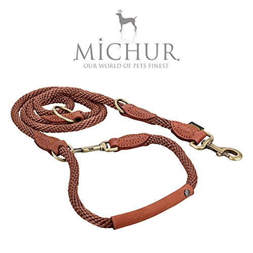 Michur Sherpa Hundeleine Brown Sugar Führleine rund gewebt aus Nylon Tau mit robustem Leder verstärkt, 3-fach verstellbar, in verschiedenen Größen erhältlich
