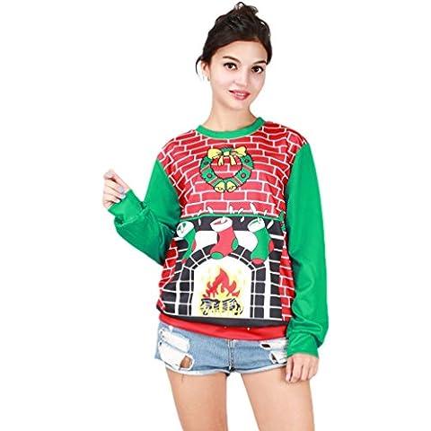 NiSeng Donna Uomo Natale Felpa Manica Lunga Maglione In Stile Casual Pullover Top Christmas Jumper