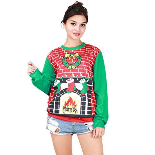 Weihnachts Kleidung Langarm Warme Christmas Sweatshirt Hässliche Weihnachtspullover Style 16 One Size (Womens Hässlichen Pullover Weihnachten)