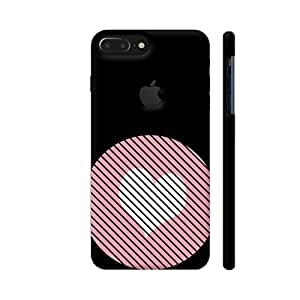 Colorpur iPhone 7 Plus Logo Cut Cover - Striped Heart Pink Printed Back Case