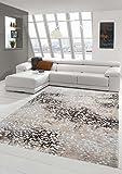 Living Designer stanza Tappeto Tappeto moderno moquette bassa palo con taglio contorno con i modelli in grigio crema beige marrone Größe 200 x 290 cm