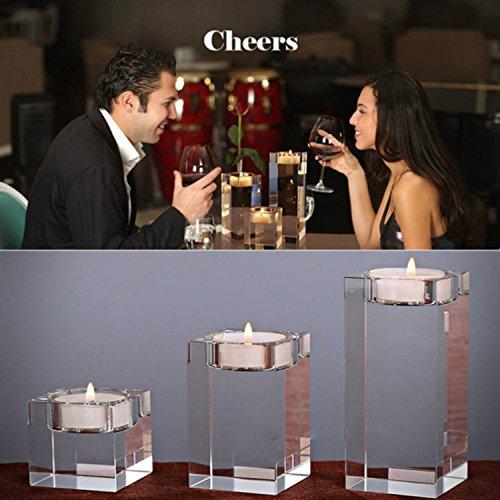 1-Set (3-teilig) hochwertige Kristall Glas Kerzenständer kristalle Kerzenständer für romantisches Abendessen kreative Kerzenständer Hochzeit Haus Deko Esstisch und Bar (2# Set) (Esstisch-set Für Zwei)