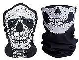 2x Premium Multifunktionstuch | Sturmmaske | Bandana | Schlauchtuch | Halstuch mit Totenkopf- Skelettmasken für Motorrad Fahrrad Ski Paintball Gamer Karneval Kostüm Skull Maske (Weiß/Totemkpopf Hals)