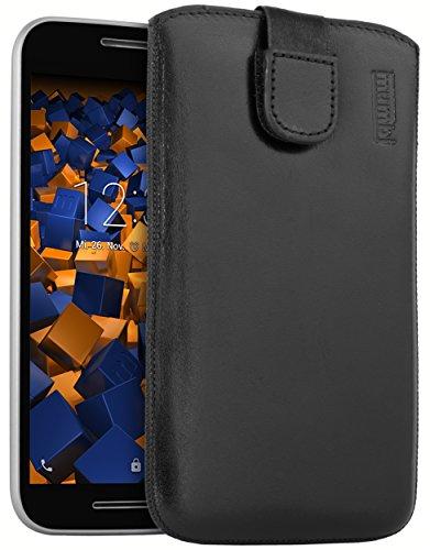 mumbi ECHT Ledertasche für Motorola Moto G (3. Generation) Tasche Leder Etui (Lasche mit Rückzugfunktion Ausziehhilfe)