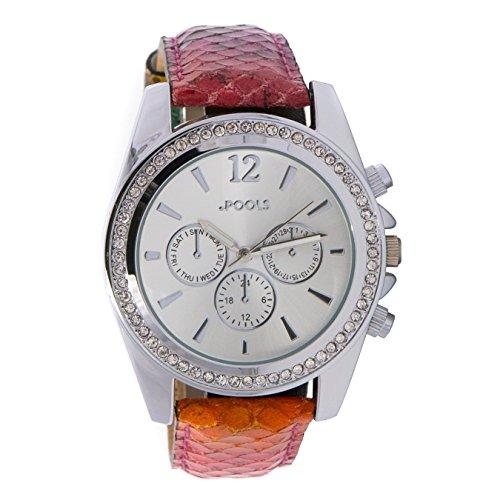Baciami .POOLS 1260 Damen-Armbanduhr, Echtleder-Band, Chronograph-Look, Regenbogen-Optik, Stainless Steel, Wasserbeständig bis 3 ATM