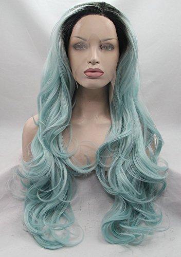 Langes Damen Frisur 2Tone Hitzebeständige Kunstfaser für Drag Queen gewellt dunklen Wurzeln Ombre Pastell Blau Synthetische Lace Front Perücken natur Lupenrein Haaransatz handgefertigt Haar 55,9cm