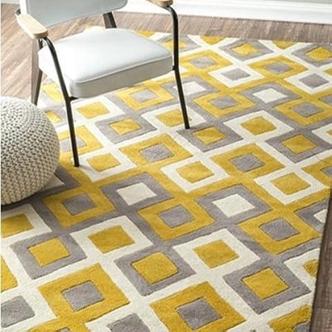 Simple moda dormitorio cuadros amarillo acrílico hecho a mano de ventanal en living comedor mesa sofa y la alfombra alfombras , blue luxury , 1.6x2.3 m