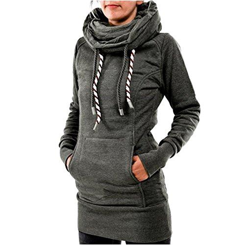 Damen Hoodie Pullover Kleid - Juleya Frauen Warm Kapuzenpullover Jumper Sweatshirts mit Kapuzen Sweaters Top Hoodies Langarmshirt Minikleid Casual Tops 4 Farben Gr.34-44