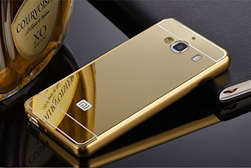 SDO™ Metal Bumper Frame Case with Acrylic Mirror Back Cover Case for Xiaomi Redmi 2/Redmi 2 Prime - Gold + Nano Sim Adapter