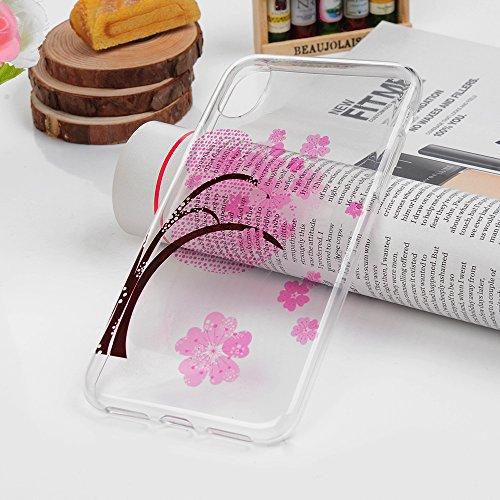 MAXFE.CO Schutzhülle Tasche Case für iPhone X TPU Silikon Cover Gemalt Etui Protective Schale Bumper Blätter + Pferd + Löwenzahn Baum + Ananas + Teddybär